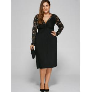 Plus Size Twist Front Formal Dress with Lace Sleeves - Black - 4xl