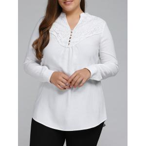 Plus Size Long Sleeve Lace Spliced Crochet Tops - White - 3xl
