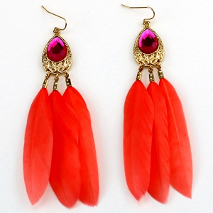 Faux Crystal Feather Embellished Drop Earrings - Water Red