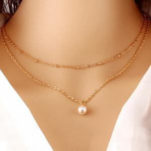 Faux Pearl Layered Double Pendant Necklace
