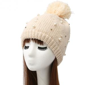 Faux Pearl Beaded Ball Wool Beanie Hat - Off-white