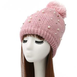 Faux Pearl Beaded Ball Wool Beanie Hat