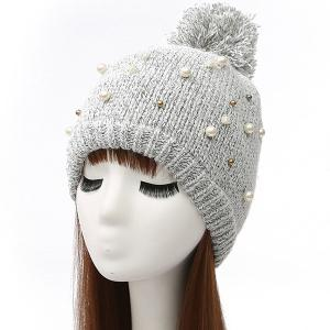 Faux Pearl Beaded Ball Wool Beanie Hat - Light Gray