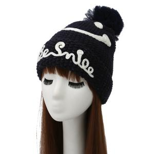Smile Face Ball Knitted Wool Beanie Hat with Writing - Purplish Blue - One Size