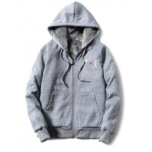 Hooded Coffee Cup Embroidered Zip-Up Fleece Hoodie - Gray - 4xl