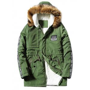 Furry Hood Applique Drawstring Fleece Coat - Army Green - L