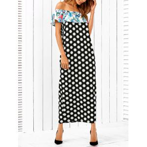 Off The Shoulder Flounce Ruffles Polka Dot Dress
