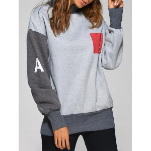 High Neck Graphic Patch Sweatshirt - Gray - One Size