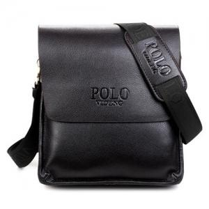 Faux Leather Messenger Bag - Black - 41
