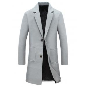Pocket Single Breasted Lapel Woolen Coat