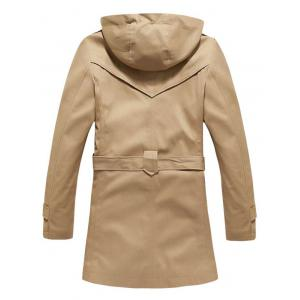 Buttoned Detachable Hooded Belted Coat -