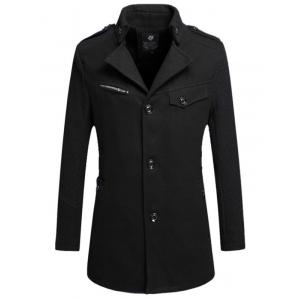 Single Breasted Turn Down Collar Woolen Coat