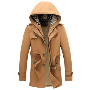 Belted Plush Fleece Hooded Woolen Tweed Coat - Khaki - M