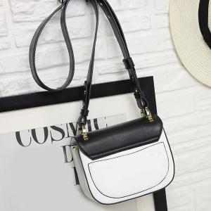 Metal Embellished PU Leather Color Block Crossbody Bag - WHITE