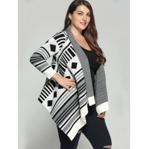 Plus Size Geometric Pattern Irregular Cardigan -