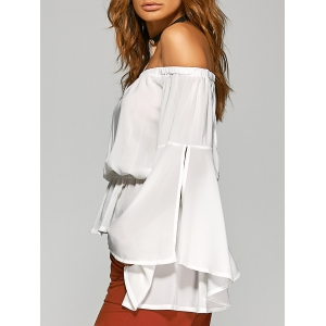 Off-The-Shoulder Split Sleeve Top - WHITE XL