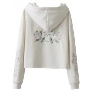 Fleeced Rose Embroidered Hoodie -