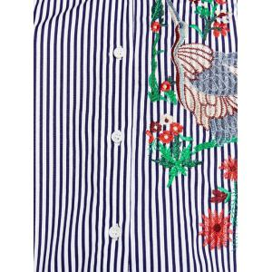 Flower Embroidered Striped Shirt - STRIPE L