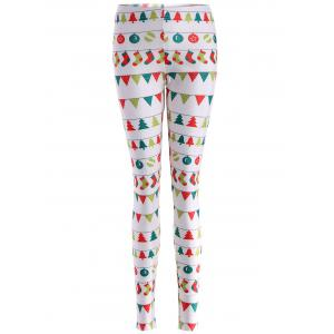 Skinny Christmas Holiday Leggings - White - L