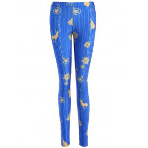 Slimming Christmas Reindeer Leggings - Blue - M