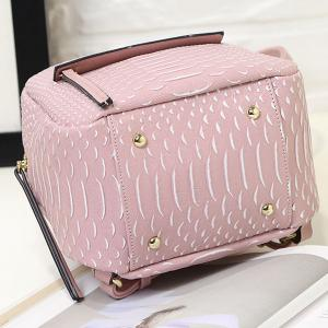 PU Leather Snake Embossed Backpack - PINK