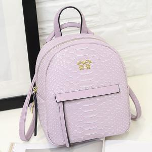 PU Leather Snake Embossed Backpack