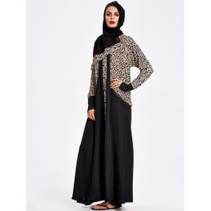 Muslim Hooded Leopard Maxi Dress -
