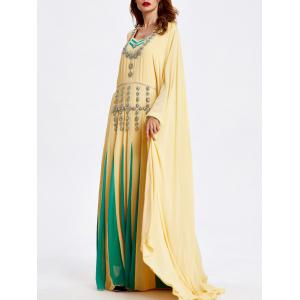 Color Block Beaded Bat Sleeve Loose Maxi Dress -