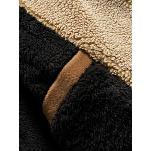 Fleece Plush Lined Single Breasted Stand Collar Woolen Coat -