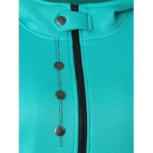 Casual Buttoned Long Sleeve Zipper Up Hoodie - LAKE BLUE 2XL