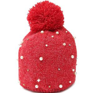 Faux Pearl Beaded Ball Wool Beanie Hat -