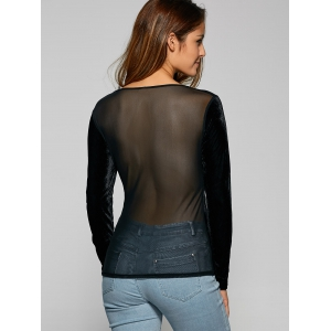 Black xl see through long sleeve sheer velvet t shirt for Shirts with see through backs