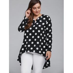 Plus Size Polka Dot High Low Blouse - WHITE AND BLACK 5XL