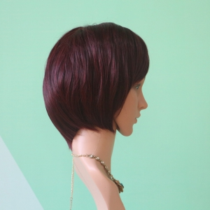 Wine Red Mixed Stunning Short Straight Side Parting Synthetic Wig - COLORMIX