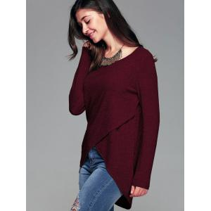 Front Slit Ribbed T-Shirt - WINE RED XL