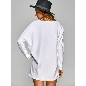 V Neck Long Sleeve Mini Casual Tunic Dress - WHITE M