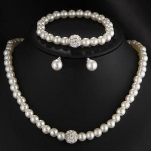 Faux Pearl Rhinestone Beaded Necklace Bracelet and Earrings - WHITE