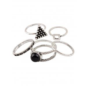 Burnished Faux Gem Chic Ring Set - SILVER