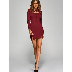 Long Sleeve Cutout Bodycon Slit Dress - WINE RED M