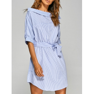 Asymmetric Neckline Belted Tunic Dress -