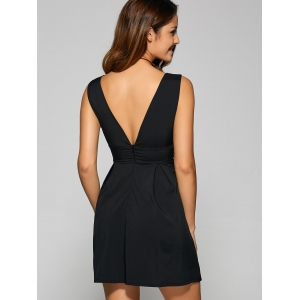 Backless Embroidered Low Cut A Line Party Dress - BLACK L