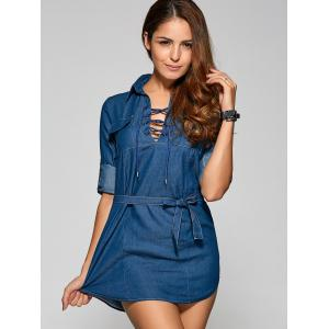 Front Lace Up Casual Denim Mini Dress - DENIM BLUE S