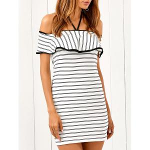Striped Flounced Bodycon Dress -