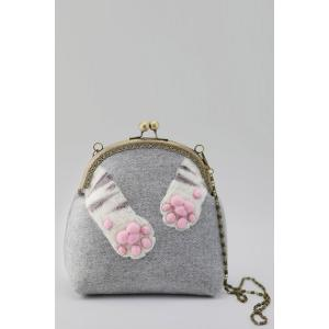 Kiss Lock Cat Pads Crossbody Bag - Gray - M