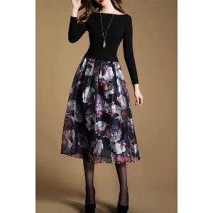 Floral Knitted Long Sleeve Midi Swing Dress - BLACK 2XL