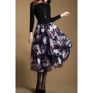 Floral Knitted Long Sleeve Midi Swing Dress - Black - 2xl