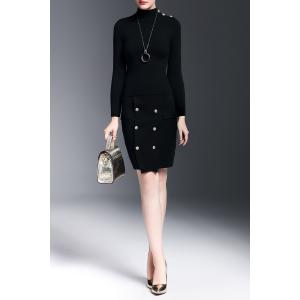 Mock Neck Sweater With Button Skirt - Noir S