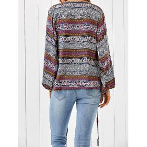 Plunging Neck Bohemian Printed Loose Blouse -