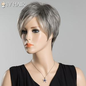 Short Fluffy Inclined Bang Straight Ombre Siv Human Hair Wig -