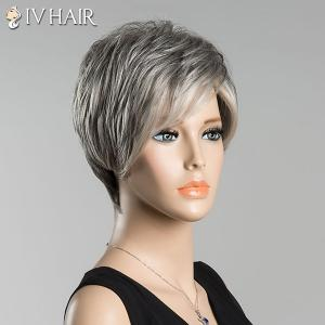 Short Fluffy Inclined Bang Straight Ombre Siv Human Hair Wig - COLORMIX